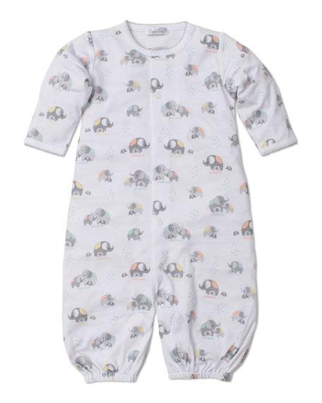 Kissy Kissy Elephant Hugs Printed Convertible Sleep Gown, Size Newborn-Small