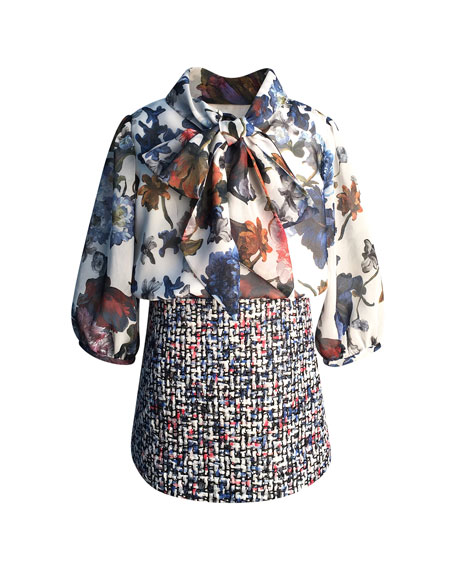 Helena Floral Chiffon & Tweed Mock Outfit Dress, Size 2-6