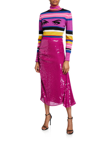 PINKO Striped Sequined Eye Turtleneck Sweater