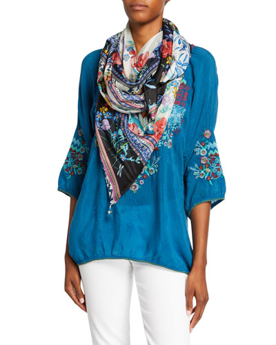 Plus Size Muna Embroidered Scoop-Neck 3/4-Sleeve Georgette Blouse and Matching Items