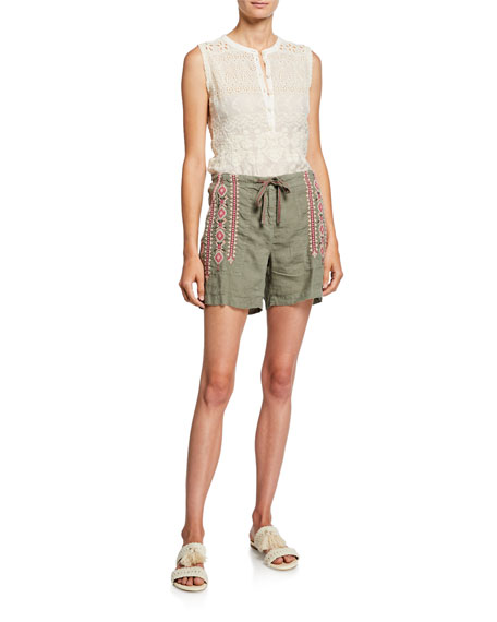 Johnny Was Suzie Embroidered Eyelet Crewneck Georgette Tank