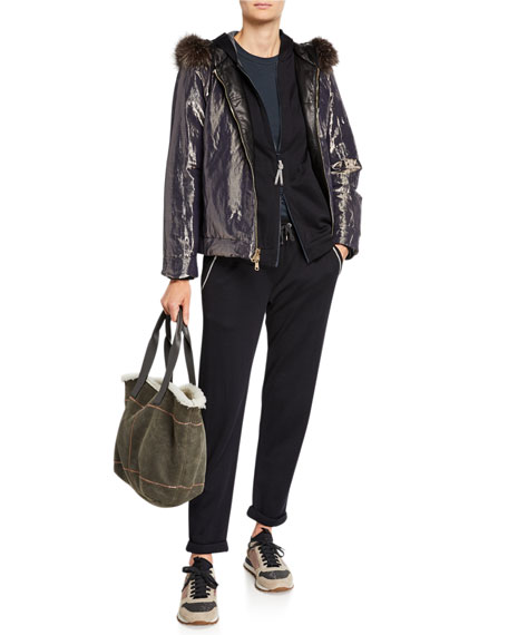 Brunello Cucinelli Reversible Quilted Leather Jacket with Fur Hood