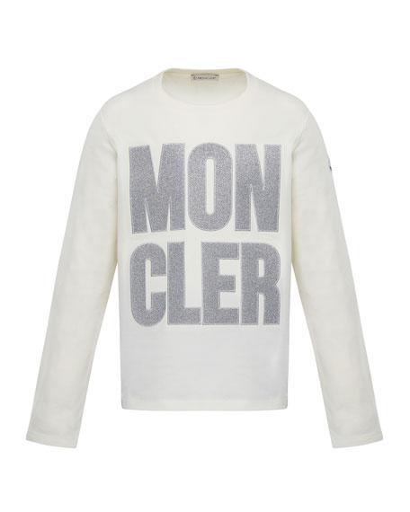 Moncler Glitter Logo Long-Sleeve T-Shirt, Size 4-6