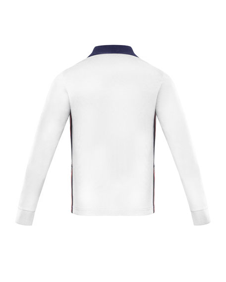 Moncler Long-Sleeve Polo Shirt w/ Side Taping, Size 4-6