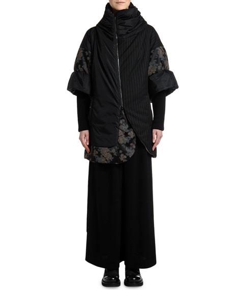 Antonio Marras Pinstriped & Damask Patchwork Crop Puffer Jacket