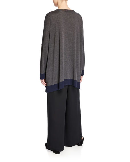Eskandar Contrast-Trim Long-Sleeve Silk Sweater