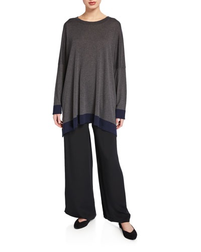 Contrast-Trim Long-Sleeve Silk Sweater and Matching Items