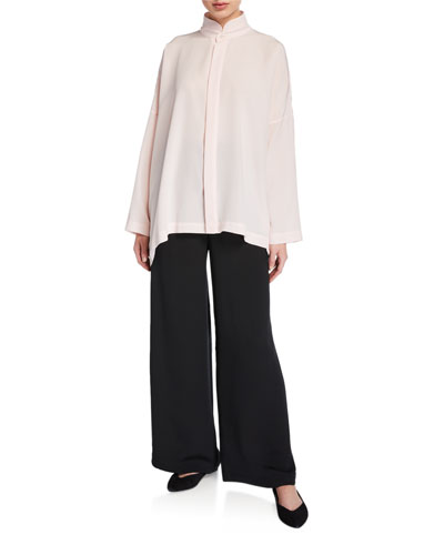 Double-Stand Collar Oversized Tunic and Matching Items