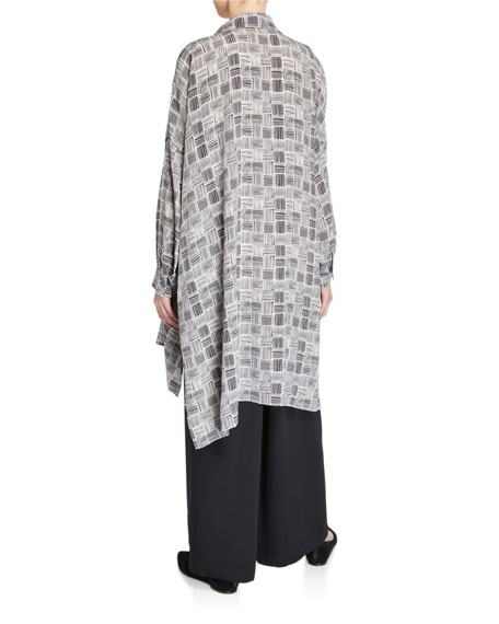 Eskandar Checkered Wide Long-Back Shirt