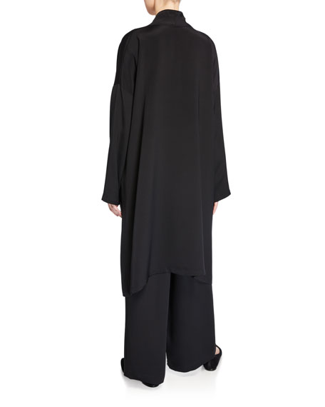 Eskandar Silk Scrunched V-Neck A-Line Shirt