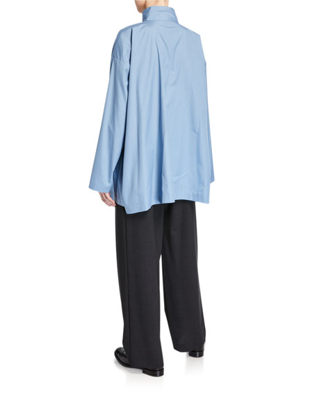 Eskandar Poplin Stand-Collar A-Line Shirt