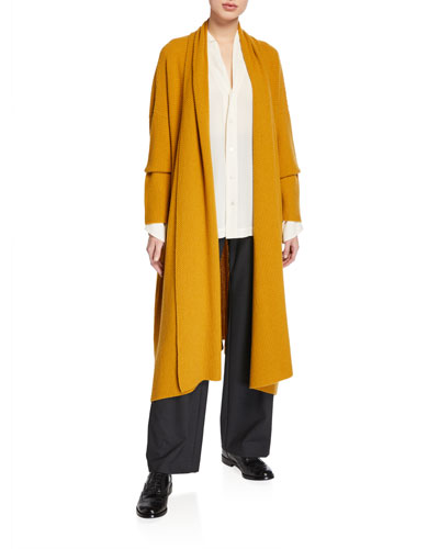 Cashmere A-Line Scrunched Shawl-Collar Cardigan and Matching Items
