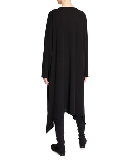 Eskandar Cashmere Side-Cascading Boat Neck Dress