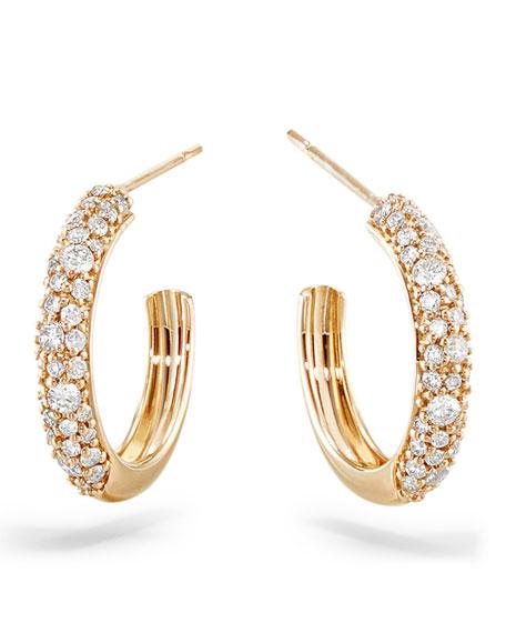 LANA 14k Thin Diamond Cluster Hoop Earrings, 15mm