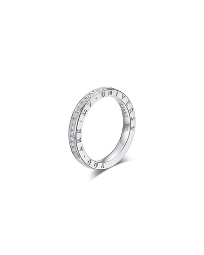 Dirce You Are My Universe 18k White Gold Diamond 2.5mm Band Ring  Size 5.25 and Matching Items