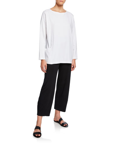 Petite Bateau-Neck Long-Sleeve Jersey Pocket Top and Matching Items