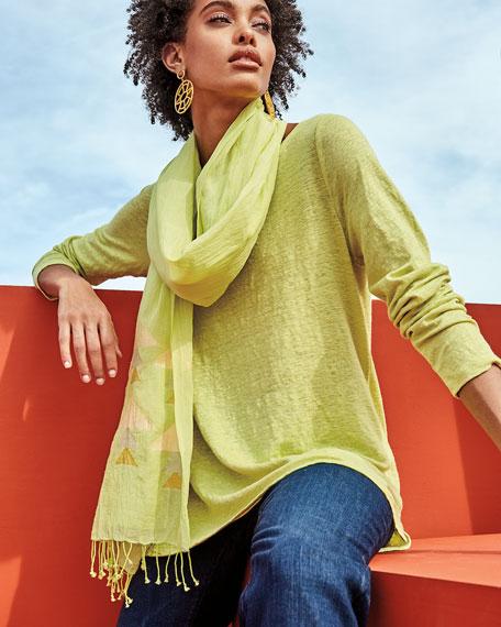 Eileen Fisher Plus Size Bateau-Neck Long-Sleeve Organic Linen Top