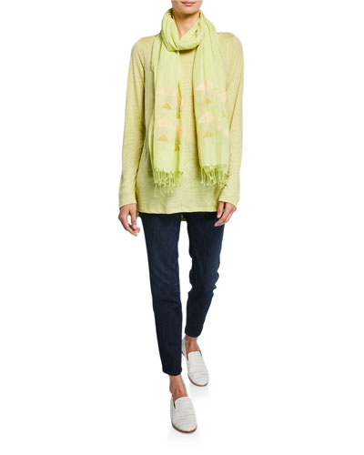 Plus Size Bateau-Neck Long-Sleeve Organic Linen Top and Matching Items