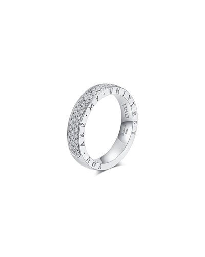 Dirce You Are My Universe 18k White Gold Diamond 4.3mm Band Ring  Size 5.25 and Matching Items