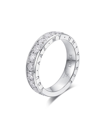 Dirce You Are My Universe 18k White Gold Diamond 4.3mm Band Ring  Size 6 and Matching Items