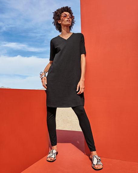 Eileen Fisher Plus Size V-Neck Short-Sleeve Jersey Dress