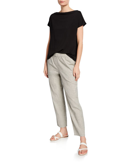 Eileen Fisher Cowl-Neck Short-Sleeve Lyocell Jersey Tee