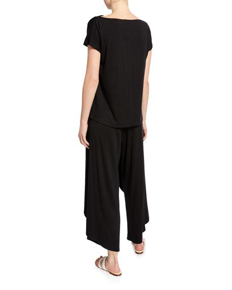 Eileen Fisher Cowl-Neck Short-Sleeve Lyocell Jersey Tee