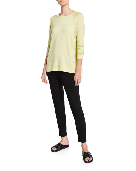 Eileen Fisher Crewneck Long-Sleeve Jersey Top w/ Side Seams
