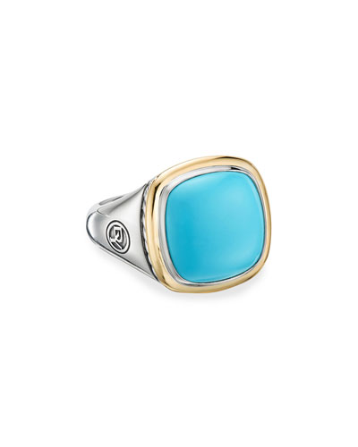 14mm Albion Cushion Ring w/ 18k Gold & Turquoise  Size 5-8 and Matching Items