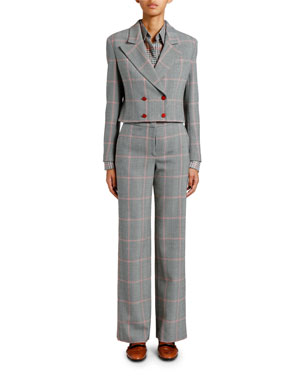 79a82cd26aa Giorgio Armani Chevron Cropped Jacket with Plisse Scarf Plaid Chiffon  Button Front Classic Blouse Chevron Wool