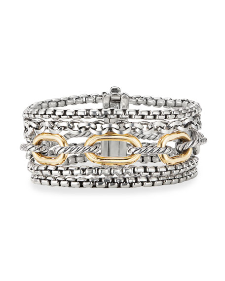 David Yurman Multi-Row Chain Bracelet, Size S-M