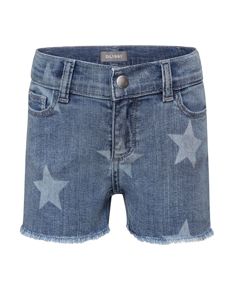 DL1961 Premium Denim Girls' Lucy Cut Off Shorts w/ Exposed Zip Fly, Size 7-18