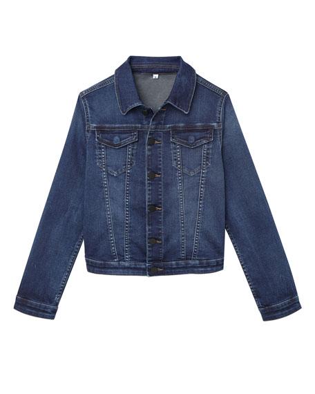DL1961 Premium Denim Boys' Manning Denim Jacket w/ Jersey Hood & Sleeves, Size 3-6X