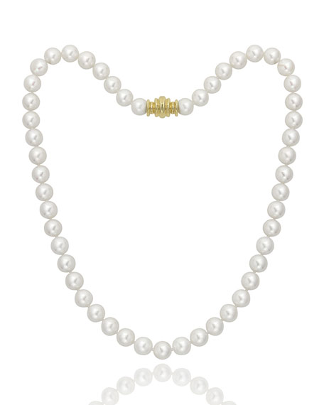 "Assael Akoya 16"" Akoya Cultured 8mm Pearl Necklace with Yellow Gold Clasp"
