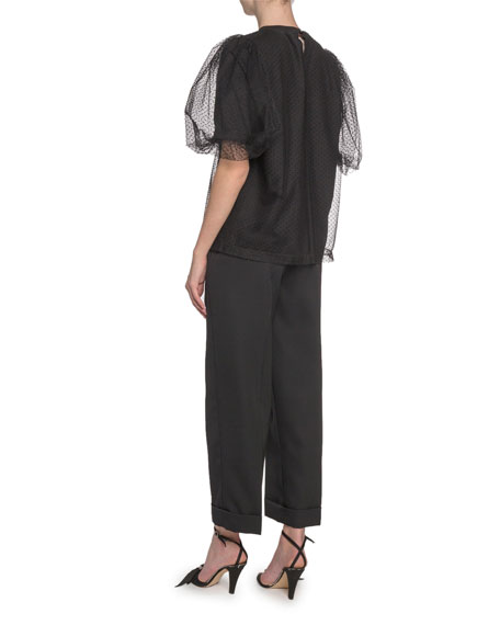 Marc Jacobs (Runway) Pouf-Sleeve Organza-Layered T-Shirt