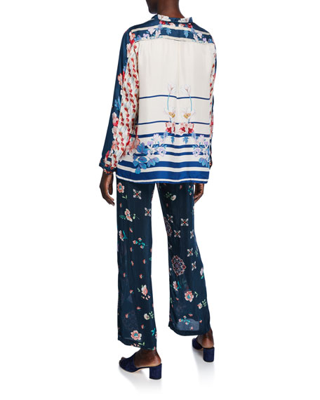 Johnny Was Georgina Colorblock Printed Silk Twill Button-Front Blouse