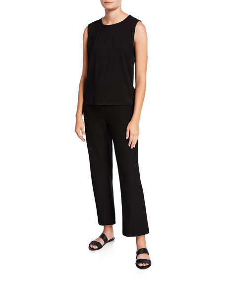 Eileen Fisher Round-Neck Crepe Shell