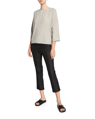 513f0732487bf Eileen Fisher Ticking Stripe 3/4-Sleeve Top Coated Stretch-Denim Cropped  Flare