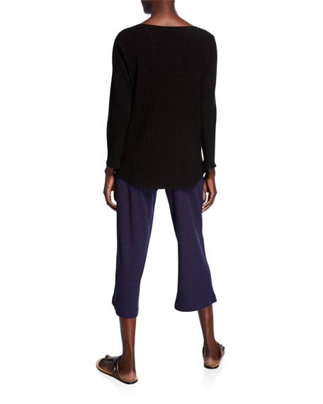 Eileen Fisher Scoop-Neck Long-Sleeve Ribbed Shirttail-Hem Top