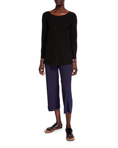 Scoop-Neck Long-Sleeve Ribbed Shirttail-Hem Top and Matching Items