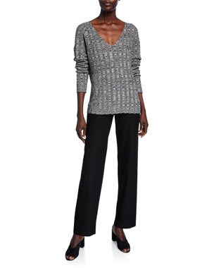 42954075b938 Eileen Fisher Silk/Organic Linen Marled V-Neck Sweater Washable-Crepe  Straight-