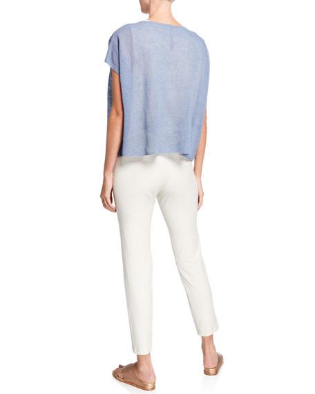 Eileen Fisher Crewneck Linen Crepe Short-Sleeve Top