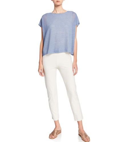 Crewneck Linen Crepe Short-Sleeve Top and Matching Items