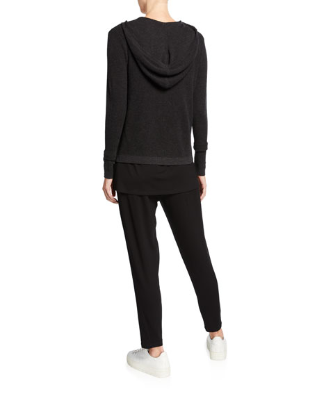 Eileen Fisher Organic Cotton/Silk Hooded Snap-Front Waffle Cardigan
