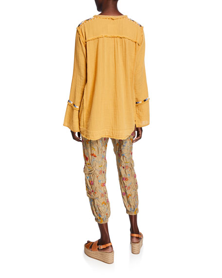 Johnny Was Mars V-Neck Long-Sleeve Embroidered Gauze Top