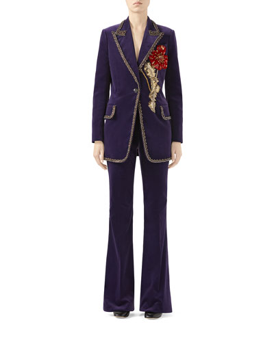 Matte Stretch-Velvet Jacket with Embroidered Flower and Matching Items