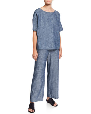 e43b687d055 Eileen Fisher Plus Size Chambray Scoop-Neck Short-Sleeve Top Plus Size  Denim Chambray