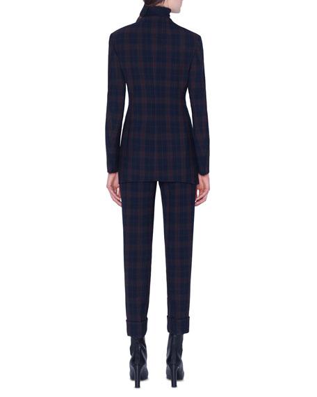 Akris Plaid Zip-Front Jacket
