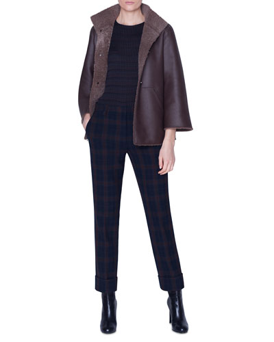 Curly Lambskin Asymmetric Jacket and Matching Items