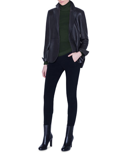 Leather Snap-Front Jacket and Matching Items